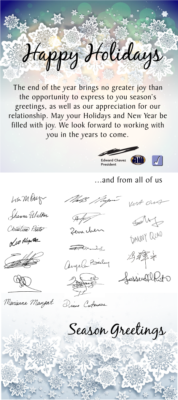 Happy Holidays from all of us at Joneca Corporation & Anaheim Marketing Intl.
